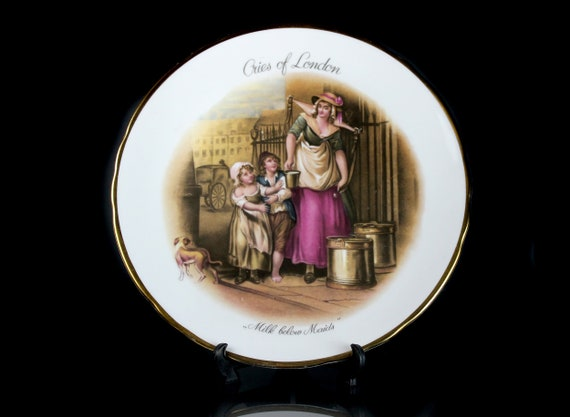 Decorative Plate, Cries of London, Milk Below Maids, Tuscan, Bone China, Display Plate, Collectible