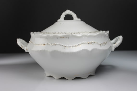 Antique Covered Vegetable Bowl, O & E G Austria, Round, Embossed, Gold Trimmed, White, 7 Inch