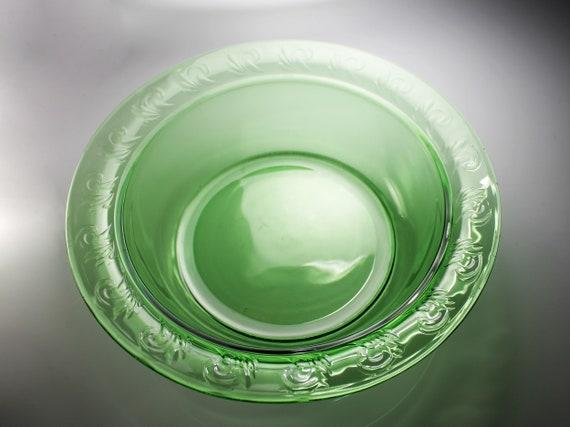 Large Rimmed Bowl, Green Depression Glass, Embossed, Centerpiece, Fruit Bowl, Salad bowl