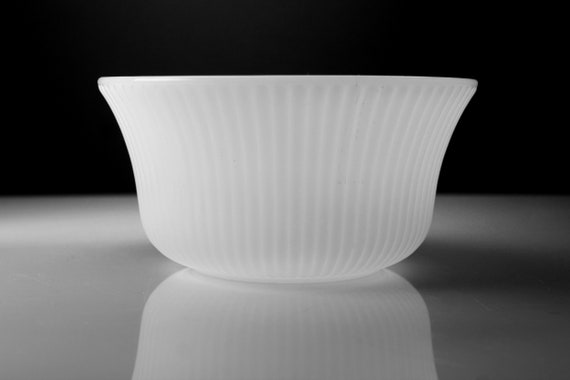 Milk Glass Flared Bowl, E. O. Brody, Flared Top, Ribs, Serving Bowl, Planter