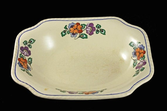 Vegetable Bowl, Steubenville Pottery, Steubenville Ivory, Square Bowl, Fruit and Flower Pattern
