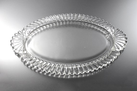 Handled Glass Tray, Ribbed, Clear Glass, Serving, Vanity, Pressed Glass