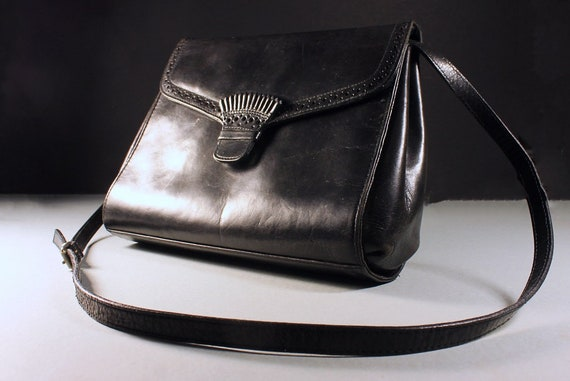 Black Leather Handbag, Perry Ellis Portfolio, Purse, Designer Bag, Inside Zipper, Shoulder Bag
