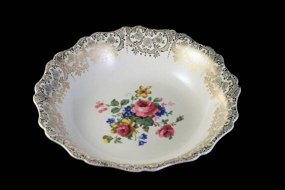 Vegetable Bowl, Canonsburg Pottery Company, Warranted 22 Karat Gold, Rose Floral Pattern, Gold Filigree