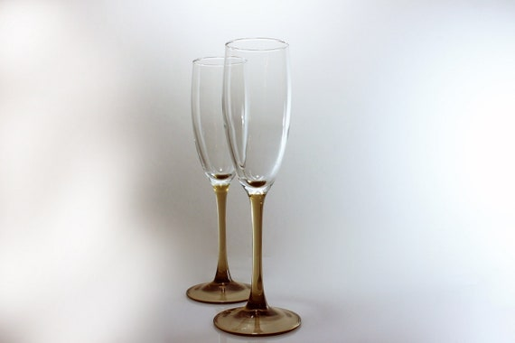 Champagne Flutes, Smokey Brown, Set of 2, Brown Stems, Barware, Toasting Glasses