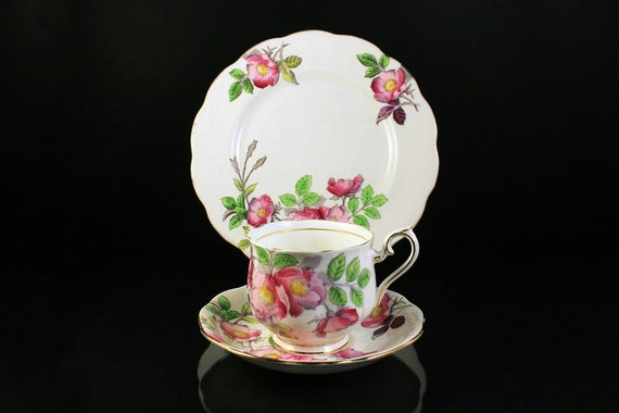 Royal Albert Teacup Trio, Dog Rose, Flower of the Month Series, Teacup, Saucer, Tea Plate. Bone China, Gold Trim