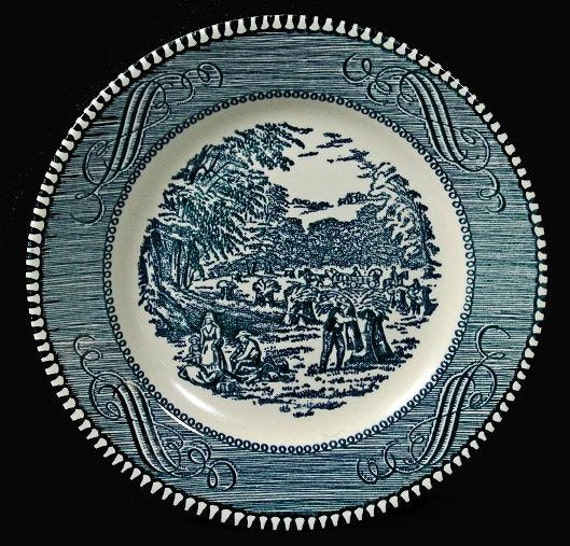 Currier and Ives Royal China Bread and Butter Plate Harvest Pattern