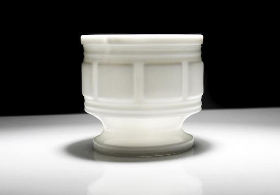 Randall Milk Glass Planter, Block Pattern, Pedestal