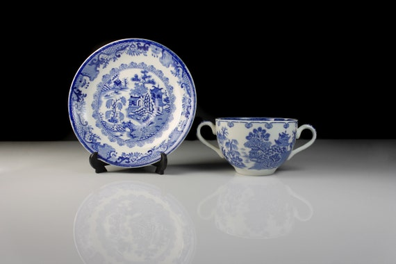 Antique Bouillon Cup and Saucer, Mason's, Willow Blue, Ironstone, Blue and White