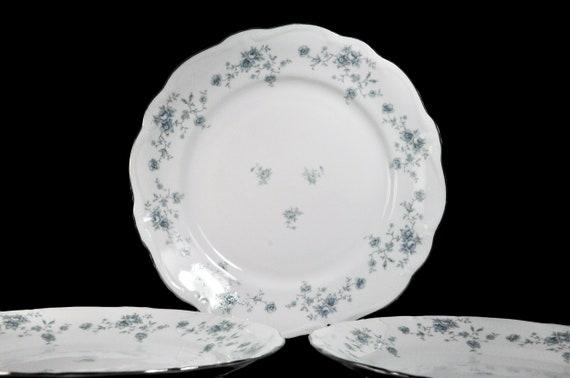 Dinner Plates, Johann Haviland, Blue Garland, Floral Pattern, Set of Three, Fine China, Discontinued