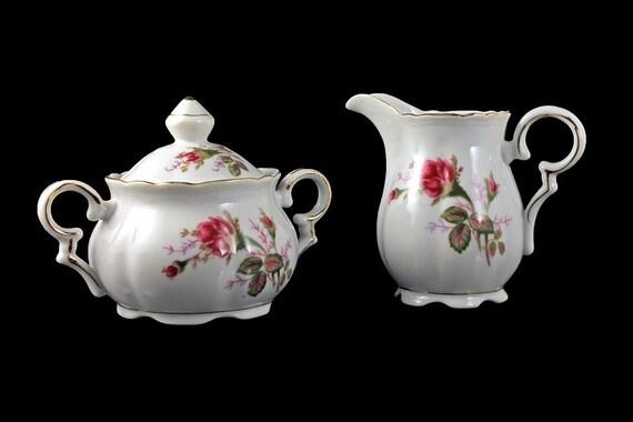 Sugar Bowl and Creamer, Royal Sealy, Moss Rose Pattern, Rose Floral, Gold Trim