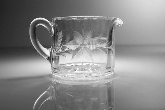 Antique Glass Creamer, Wheel Cut Floral, Heavy Glass, Pitcher, Jug