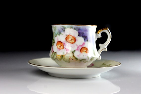 Demitasse Cup and Saucer, Lefton, Teacup, Magnolia, Matte Finish, Made in England, Fine Bone China, Floral, Collectible