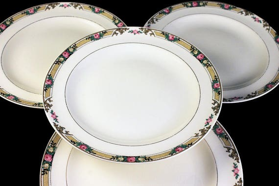 Salad Plates, Mount Clements, Set of 4, Floral Band, Pink Rose, Fine China