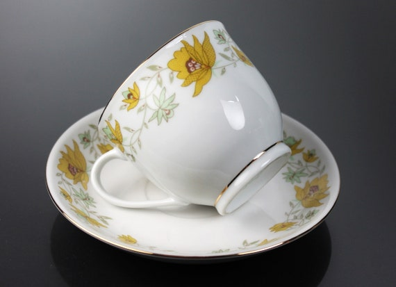 Cup and Saucer, Porcelain, Made In China, Yellow Floral Pattern, Gold Trim