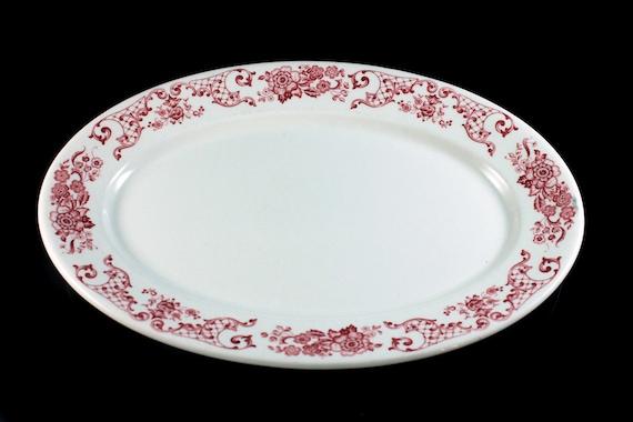 Oval Platter, Syracuse China, Restaurant Ware, Red and White, Floral Pattern, 13 Inch