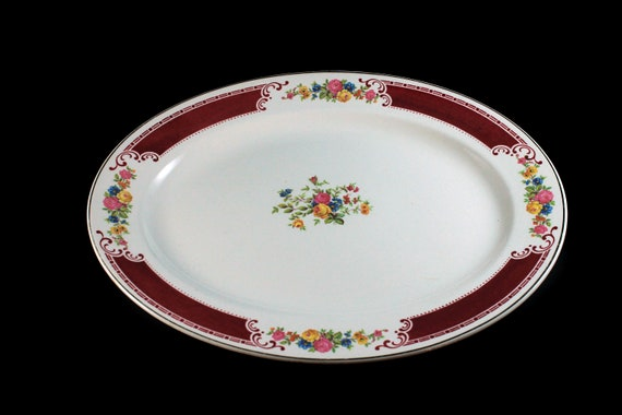 Oval Platter, Homer Laughlin, Majestic, Brittany Shape, 13 Inch, Multicolor Floral, Burgundy Band