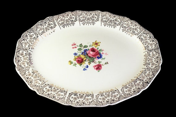 Oval Platter, Canonsburg Pottery Company, !3 Inch, Warranted 22 Karat Gold, Rose Floral Pattern, Gold Filigree