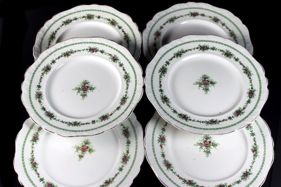 Antique Bread and Butter Plates, T & R Boote, Waterloo Potteries, Flemish Garland, Set of 6, Collectible, Roll Plates, Bun Plates