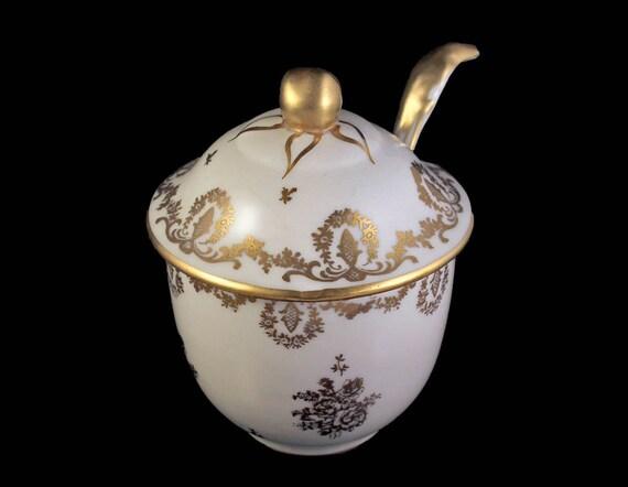 Antique Jam Jar, Porcelaine De France, French Porcelain, Gold and White, Flowers & Scrolls, Relish Jar, Sauce Jar