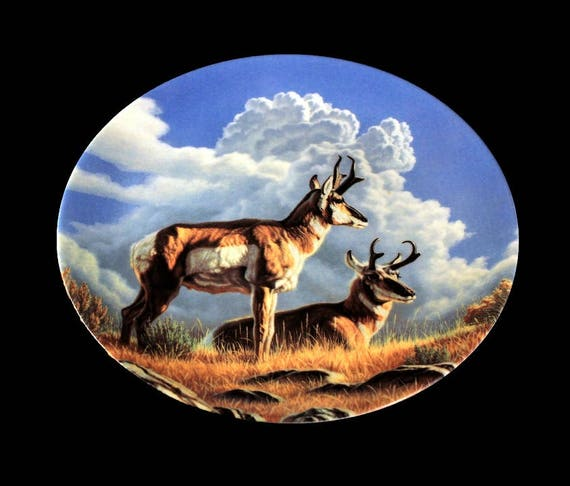 1990 Collectible Plate, Dominion China, Canada's Big Game Collection, The Pronghorn, Limited Edition, Decorative Plate,  New In Box