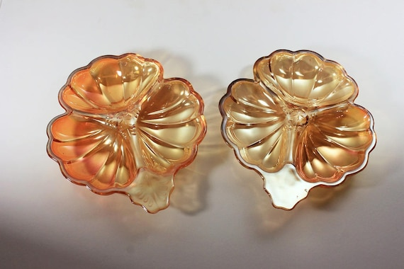 3 Part Clover Dish, Jeannette Glass, Doric Marigold Pattern, Iridescent, Candy Dish, Set of 2