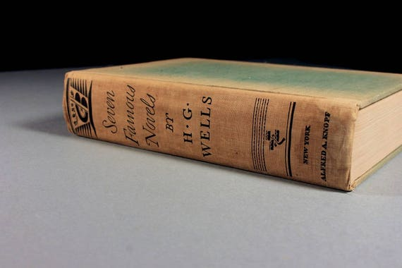 1934 Hardcover Book, Seven Famous Novels by H. G. Wells, Science Fiction, Fiction, Literature, First Edition, Classic, Collectible, Omibus