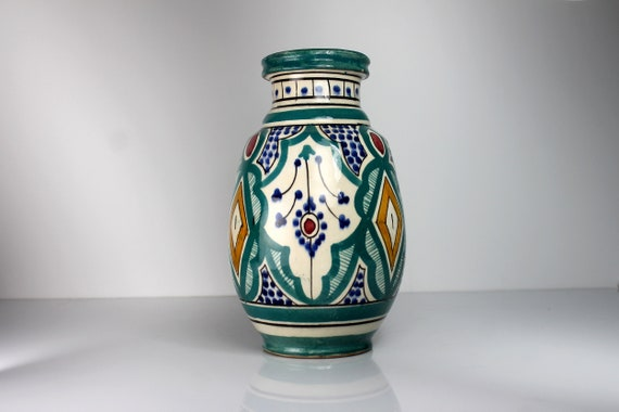 Safi Morocco Table Vase, Antique, Hand Painted, Geometric, 8 Inch, Handmade, Collectible