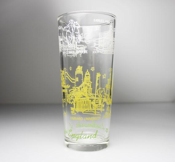 New England Souvenir Tumbler, 12 Ounce, Drinking Glass, Multicolored