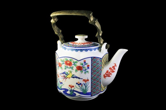 Octagon Teapot, Brass Handle, Bird and Floral Pattern, 4 Cup, Collectible, Japanese Style