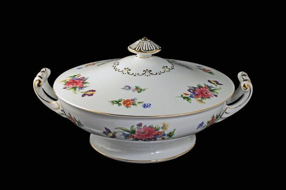 Covered Vegetable Bowl, Sango China, Occupied Japan,  Floradel, Floral Pattern, Round, Multifloral, Gold Trim