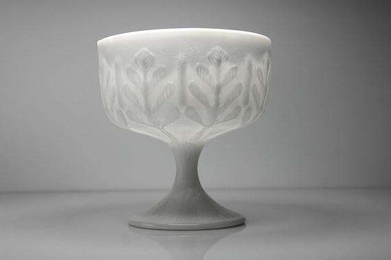 FTD Milk Glass Compote, Oak Leaf Pattern, Small, Planter