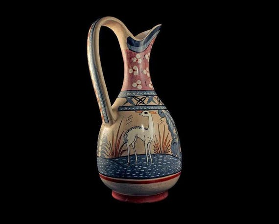Mexican Pottery Pitcher, Mateos, Signed, Burnished, Hand Painted, Collectible, 12 Inch