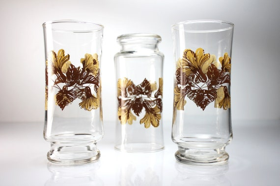 Floral Tumblers, Brown and Beige, Water Glasses, Set of 3, 12 Ounce