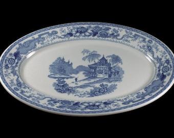 Syracuse China Platter, Mayfair Blue, Blue and White, Castle Center, Restaurant Grade, 13 Inch