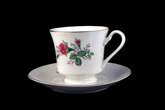 Teacup and Saucer, Silverie Fine China, Moss Ross, Japan,  Floral, Gold Trimmed