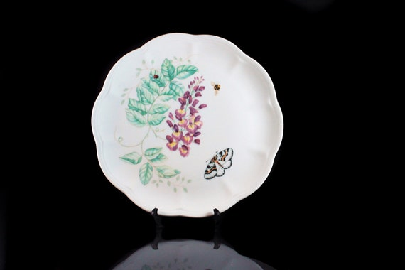 Luncheon Plate, Lenox, Butterfly Meadow, Eastern Tailed Blue, Purple Floral, Butterfly, Ladybug and Bee