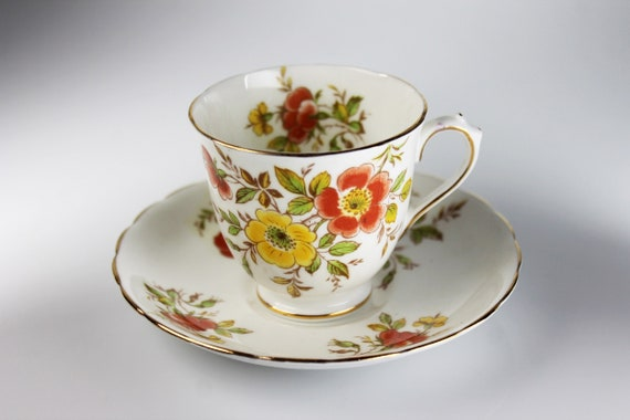 Tuscan Demitasse Teacup, Yellow and Orange Floral,  Made in England, Fine Bone China