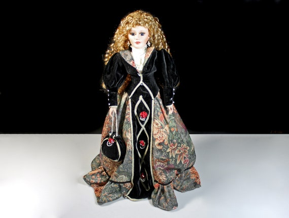 Swan Collection Porcelain Doll, Victorian Dress, Black Velvet and Tapestry Dress, Display Doll, Stand Included, 21 Inch Doll