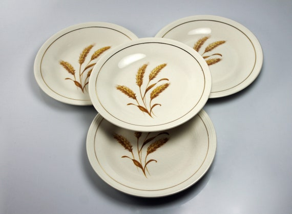 Edwin Knowles, Bread and Butter Plates, Golden Wheat, Roll Plate, Biscuit Plate, Set of 4