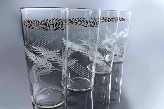 Federal Glass, Tumblers,  Wheat, White and Gold, Ice Tea Glasses, Set of 4
