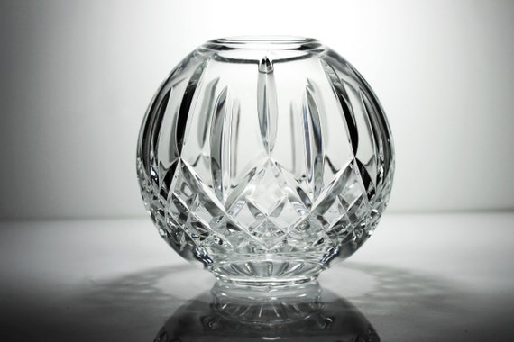 Waterford Crystal Rose Bowl, Lismore, Cut Glass,  Centerpiece, 6 Inch, Clear Glass, Display Piece, Collectible Glass
