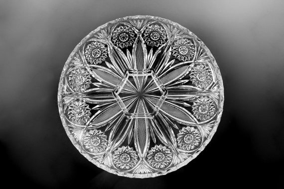 EAPG Crystal Relish Tray, Antique, Divided Tray, Flower and Hobstar
