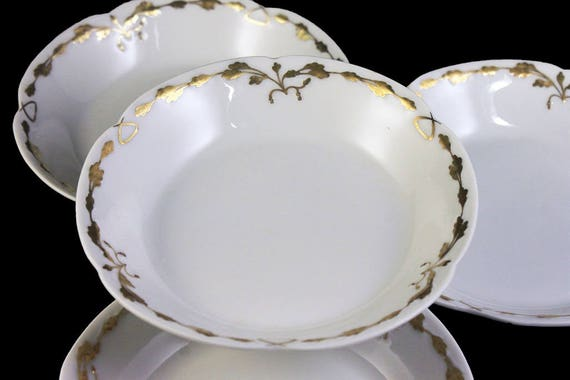 Antique Fruit Bowls, Old Abbey, Limoges France, Latrille Freres, Raised Gold, Hand Painted, Set of 4, Rare, Hard to Find