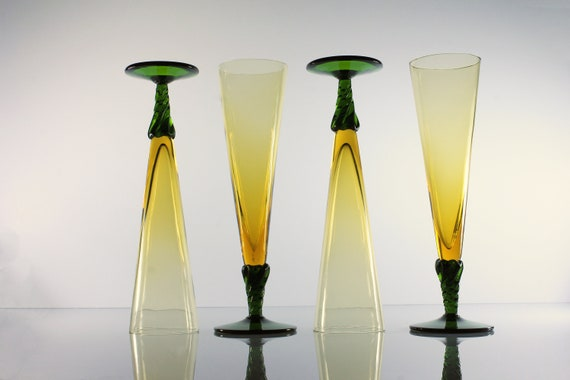 Pilsner Glasses, Hand Blown, Amber and Green, Twisted Stem, Set of 4, Barware