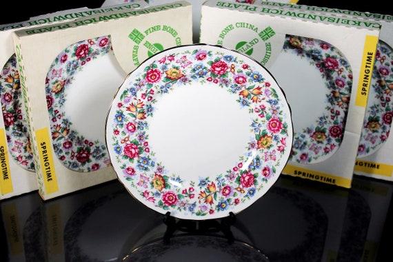 Salad Plates, Staffordshire England, Springtime, Set of 6, Cake Plates, Sandwich Plates, Dessert Plates, New In Box