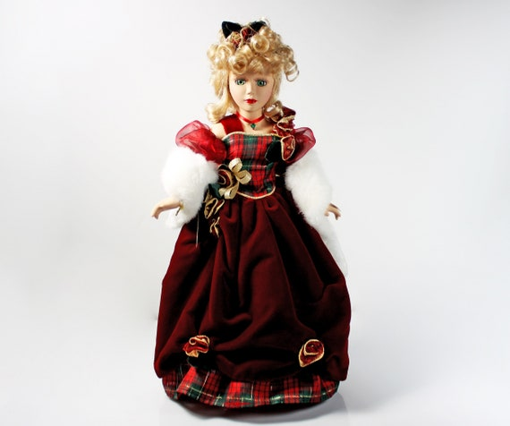Brass Key Porcelain Doll, Victorian Garden Collection, Rosemary, Holiday, 16 Inch, Stand Included, Display Doll