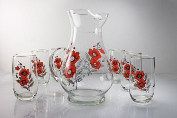 Floral Pitcher and 6 Glasses, West Virginia Glass Specialty, 2 Quart Pitcher, Orange Flowers, Clear Glass