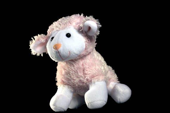 Plush Lamb Stuffed Animal Battat Pink And White Etsy