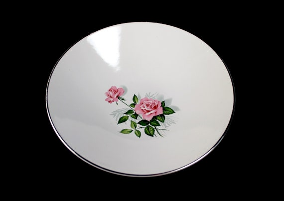 Vegetable Bowl, Pink Rose Center, Platinum Rim, 10 Inch, Round